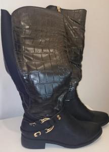 Yumi - Black Faux Croc Boots