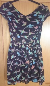 Yumi - Navy Hummingbird Print Dress