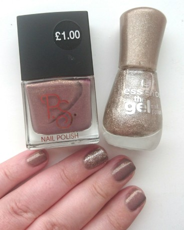 Primark Nail Polish and Essence On Air gold glitter nail polish