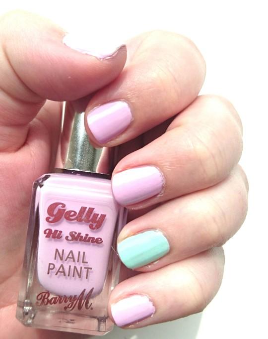 Barry M Gelly Hi Shine Nail Polish in Fondant and MUA Nail Varnish in Pistachio Ice Cream